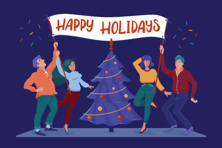 Four happy, smiling people, men and women, holding banner, placard, billboard with Happy Holidays greeting text near Christmas tree, flat cartoon vector illustration isolated on white background Vettoriali