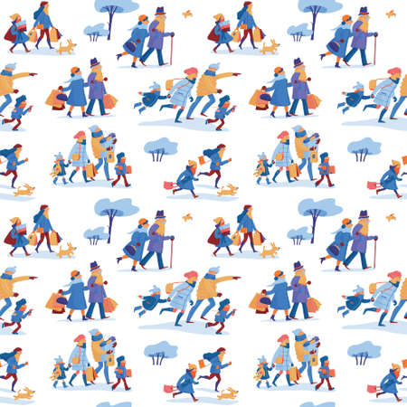 Winter sale seamless pattern with two friends, family of four, elder couple, dog and bird hurrying to shopping and going home with many shopping bags, purchases, goods on white background