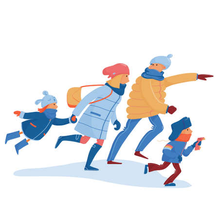 Family in warm clothes hurrying, rushing, running