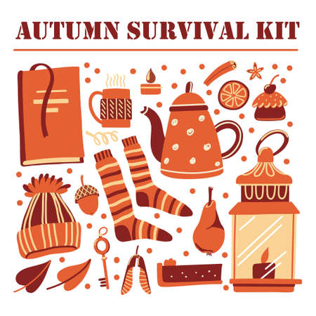 Set of things, objects associated with fall season Illustration