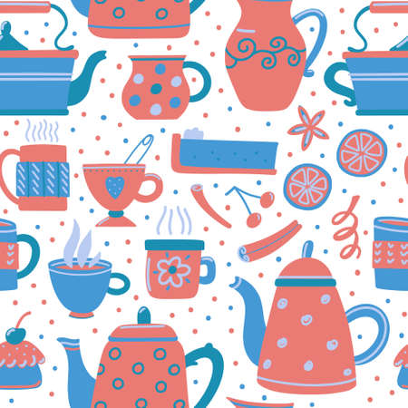 Seamless pattern with cute funny teapots and various tea cups, muffins, cakes, lemon slices and cinnamon sticks, vector illustration on white background for textiles, wrapping paper, backdrop design