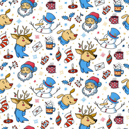 Seamless pattern with cute Christmas characters
