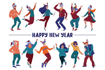 Happy New Year card with text and dancing people