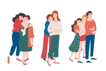 Set of young women hugging with moms with love