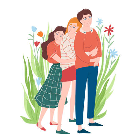Women day card, two adult daughters hugging mom