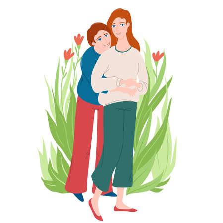 Woman hugging her adult daughter, greeting card