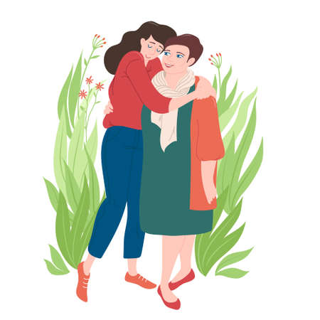 Women day card with young woman hugging her mom