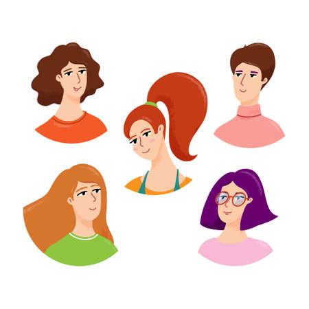 Set of cute female head and shoulders avatars
