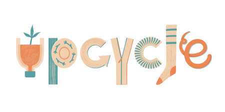 Word Upcycle made of various objects and materials  イラスト・ベクター素材