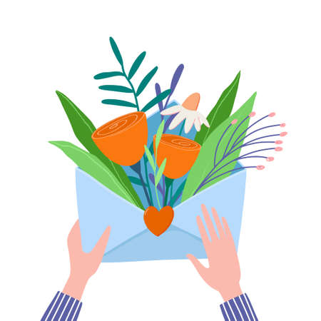 Hands holding envelope full of flowers and twigs