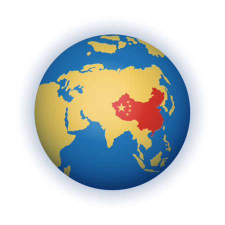 Globe with China territory highlighted in red
