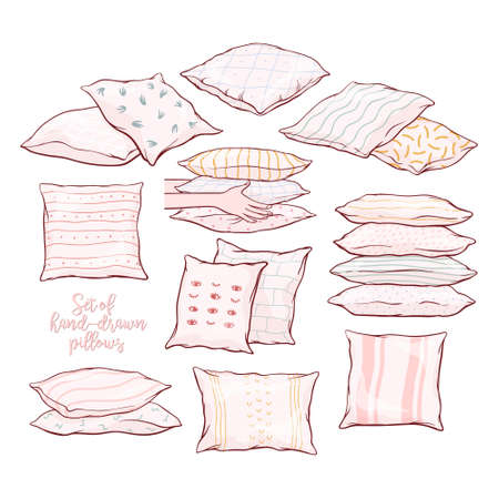 Set of pillows - single, pairs, piles, standing, lying, front and side view with patterns, hand-drawn sketch, vector illustration isolated on white background. Set of hand-drawn, sketch style pillows