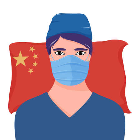 Male doctor in uniform and mask over flag of China