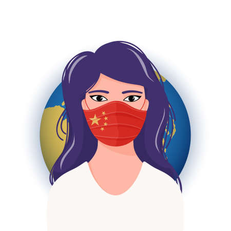 Worried woman in medical mask with flag of China