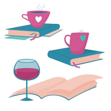 Reading logo with books, cups and glass of wine