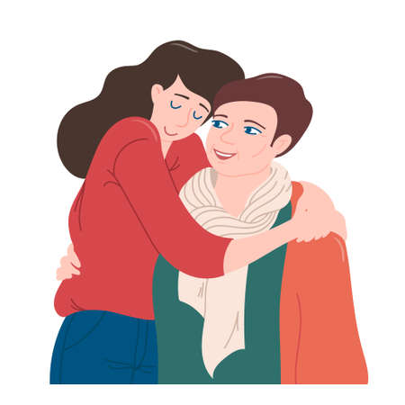 Young woman hugging mom with love and tenderness