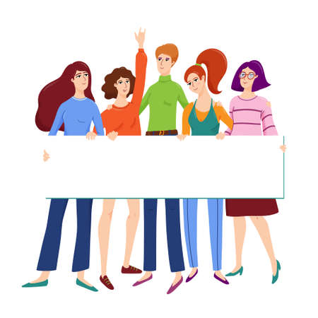 Group of young women, friends hugging each other and holding empty banner with place for text, vector illustration isolated on white background. Group of female friends, women with banner for text