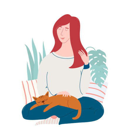 Young pretty woman sitting on the floor with cat sleeping on her knees, dreaming, enjoying the moment, feeling happy, flat vector illustration isolated on white background. Happy woman with cat