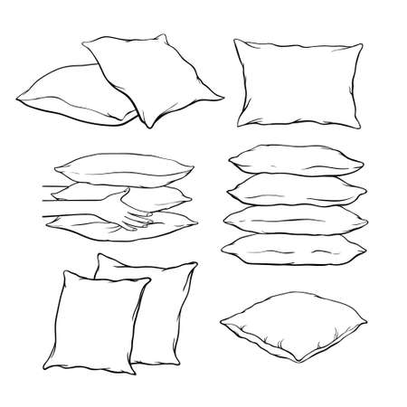 Set of blank hand-drawn sketch style pillows - one, two, stack of four, hand holding pile of three pillows, vector illustration isolated on white background. Set of hand-drawn, sketch style pillows Ilustracja