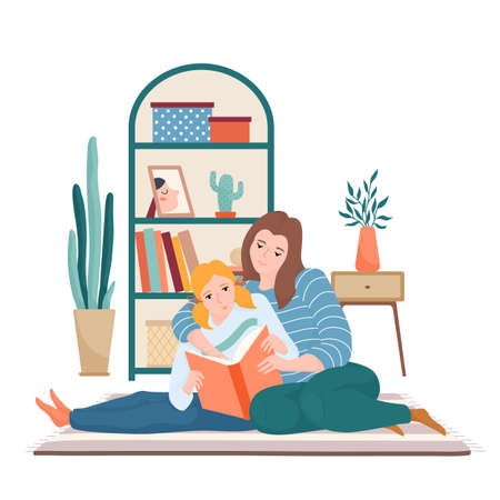 Mom and daughter reading together in living room  イラスト・ベクター素材