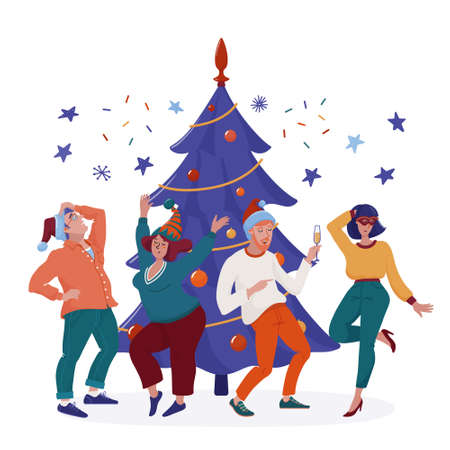 People in party hats dancing at Christmas tree