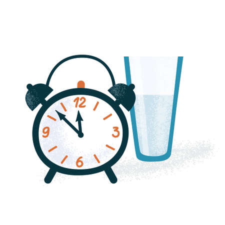 Classic alarm clock with two bells and glass of water, sleeping routine, morning wake up concept, flat cartoon vector illustration isolated on white background. Classic alarm clock and glass of water  イラスト・ベクター素材