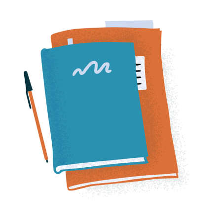 Large notebook, planner or reading book and pen