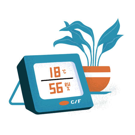 Digital, electronic thermometer showing temperature in celsius degrees and humidity in percents, and a houseplant, flat cartoon vector illustration isolated on white background. Electronic thermometer