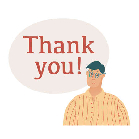 Banner template with Thank You text, lettering and shoulder portrait of young handsome man in glasses smiling in gratitude, flat style vector illustration on white background with place for text  イラスト・ベクター素材