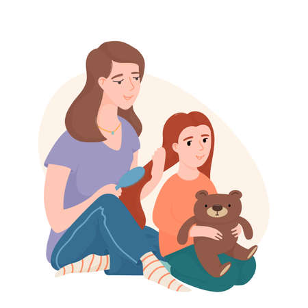 Mom combing her little daughter hair with a brush  イラスト・ベクター素材