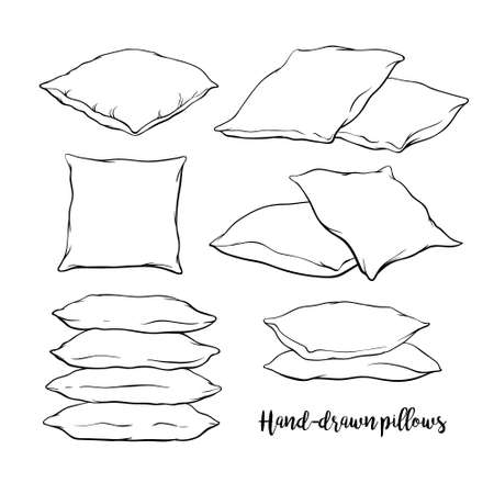 Set of black hand-drawn sketch style pillows - one, two, stack of four, standing, lying, front and side view, vector illustration isolated on white background. Set of hand-drawn, sketch style pillows