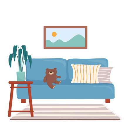 Living room design with sofa, painting and carpet