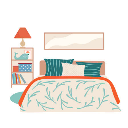 Kid bedroom interior with bed, shelf stand, lamp  イラスト・ベクター素材