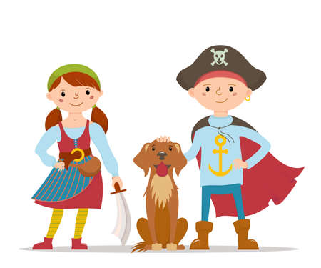 Kids in pirate fancy dress and a cute Labrador dog  イラスト・ベクター素材