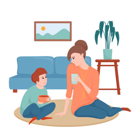 Mom and son drinking tea, spending time together  イラスト・ベクター素材