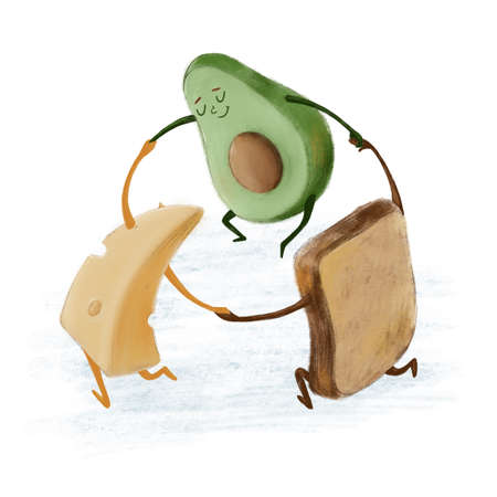 Cute dancing avocado, cheese and bread characters