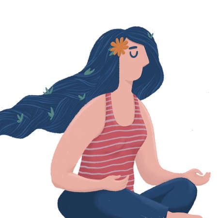 Stylized woman sitting doing meditation practice 写真素材