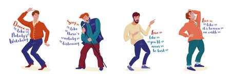 Set of motivating cards with men enjoying life