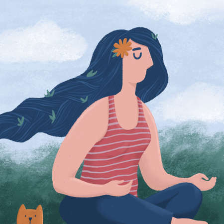 Meditating woman and a funny cat sitting outdoors