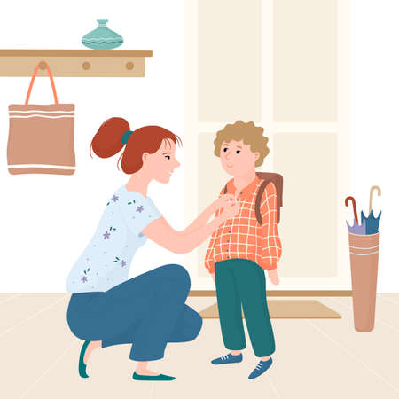 Young mother seeing her kid, little boy off for school, getting him ready near entrance door, flat cartoon vector illustration isolated on white background. Mom seeing her soon off to school