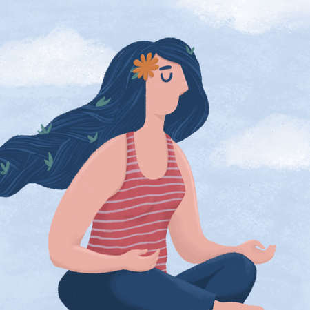 Woman meditating on background of sky and clouds