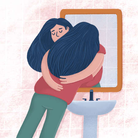 Woman hugging with reflection in bathroom mirror 写真素材