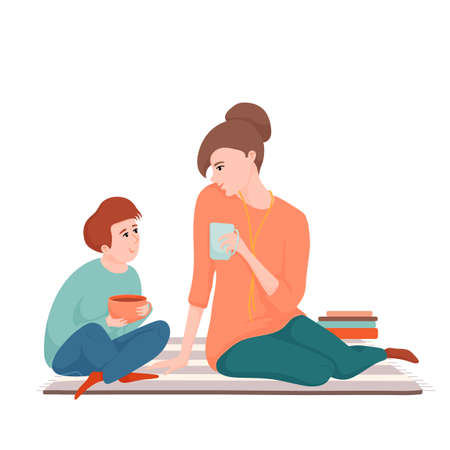Mother and son drinking tea and talking Ilustração