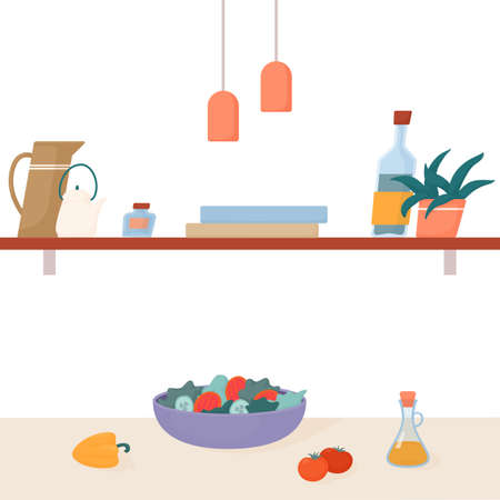 Scandinavian style kitchen, salad on the table