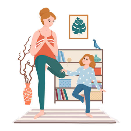 Mom and daughter doing yoga in the living room