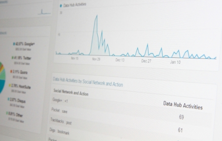 Close-up of web statistics on computer monitor