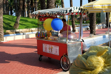 ice cream stand: Ice cream stand at holiday resort in italy. Editorial
