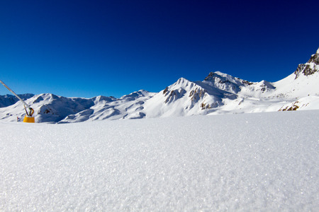 Untouched snow at ski resort in the Alps.