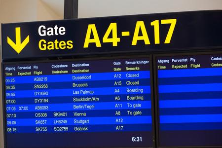kastrup: Departure information at the Kastrup Airport in Copenhagen, Denmark