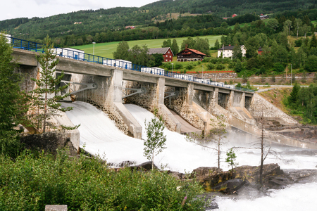 power supply: Huge amounts of water flowing in the river near the Hunderfossen hydroelectric power station in Norway.